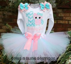 First Birthday Outfit Chevron Owl 1st Birthday 2nd 3rd Tutu Embroidered shirt Custom Girl Pink Aqua Chevron Tutu Personalized Birthday Set