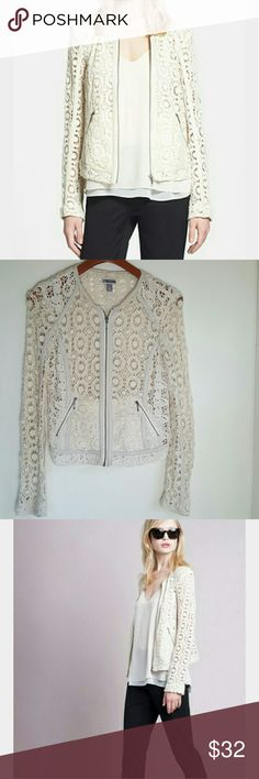 Chelsea 28 Lace Crochet and Leather Jacket XS Stunning off white crochet jacket with leather accents. Lightweight and perfect for spring. Looks and feels expensive. It does have a some staining above the tag, see the fourth picture for a close up. Chelsea 28 Jackets & Coats