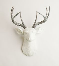 The Weston large white deer head with silver glitter antlers. Shop more stag decor items now >