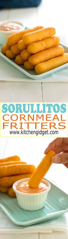 Puerto Rican Sorullitos de Maiz // Corn fritters with cheese - crispy on the out. - Puerto Rican Sorullitos de Maiz // Corn fritters with cheese – crispy on the outside, but soft an - Puerto Rican Dishes, Puerto Rican Cuisine, Puerto Rican Recipes, Pasteles Puerto Rico Recipe, Puerto Rican Appetizers, Boricua Recipes, Comida Boricua, Latin Food, Gastronomia