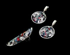 Cloisonné enamel and Silver set Pendant Ring & by TatiaEnamel