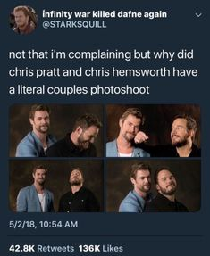 Because Chris Evans and Robert Downey Jr had one and it was subconsciously demanded by the masses Marvel Jokes, Marvel Actors, Marvel Funny, Marvel Avengers, Marvel Comics, Dc Memes, Funny Memes, Hilarious, Humor