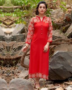 1. Red Batik printed Rayon cotton straight kurti 2. Shantoon lining  3. Can be stitched up to XL size