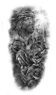 religious theme, black and white sketch, forearm sleeve tattoo sleeve tattoos ▷ 1001 + ideas for beautiful sleeve tattoos for men and women Forearm Sleeve Tattoos, Girls With Sleeve Tattoos, Best Sleeve Tattoos, Tattoo Sleeve Designs, Body Art Tattoos, Tattoo Arm, Angel Tattoo Designs, Tattoo Designs Men, Upper Arm Tattoos For Guys
