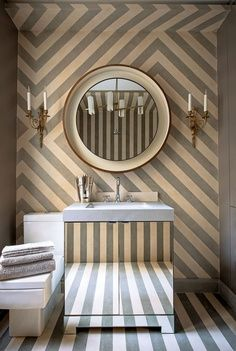 Absolutely love this lively eclectic geometric patterned bathroom.    #interiors  #bathrooms  #gray  #stripes