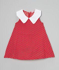 Red Polka Dot Peter Pan Collar Dress - Toddler & Girls by Di Vani