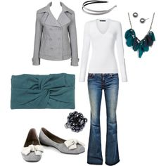 denim, white and grey with a little pop of colour :)