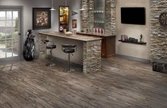 Salvage Brown Wood Plank Porcelain Tile Floor And Decor