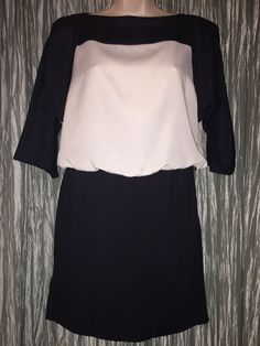e7d1d8951e769 Ann Taylor Loft Size 0P Dress 100 Polyester Navy Blue White Womens