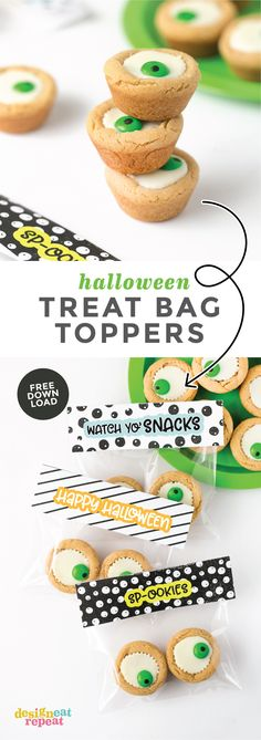 How cute are these? Attach these printable Halloween treat bag toppers with eyeball cookie cups for an easy Halloween party favor idea! Perfect for classroom gifts, coworker treats, or Halloween party favors. #Printable #Halloween | www.DesignEatRepeat.com