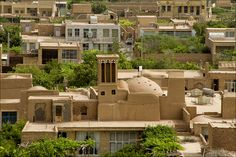 In de desert climate in Yazd area towers r used to get cold air capturing de wind. De wind getting inside de shady tower, becomes cold n de cold air goes down. This is an ancient traditional way of conditioning air inside houses. Maybod, Yazd_ East Iran