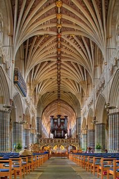 The Nave, Exeter Cathedral, Devon, England. Photo by Chris Spracklen Architecture Antique, Church Architecture, Amazing Architecture, Architecture Details, Exeter Cathedral, Cathedral Church, Exeter England, Oxford England, London England