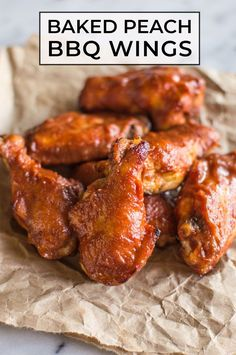Juicy baked chicken wings with a sweet and slightly tangy peach BBQ sauce. They're naturally sweetened and finger-lickin' good! #baked #glutenfree #dairyfree #paleo #chicken #wing #appetizer Bbq Wings, Baked Chicken Wings, Make Chicken Broth, Healthy Gluten Free Recipes, Paleo, Bbq Marinade, Juicy Baked Chicken, Baked Peach, Appetizer Recipes