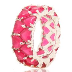 Anel aliança pedras rosa coração semi-joia