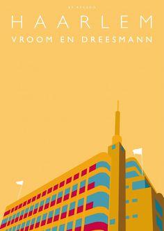 Vroom en Dreesmann in Haarlem als grafische kunst aan de muur. Strak, modern en uniek. #kunst #grafisch #haarlem