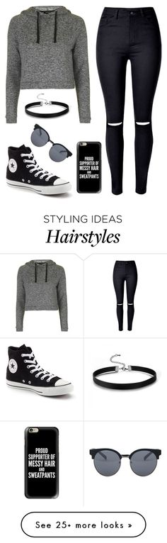 """""""Lazy day"""" by lindseysmart on Polyvore featuring Topshop, WithChic, Converse, Casetify and Quay"""