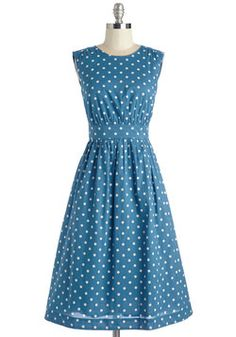 Too Much Fun Dress in Blue Dots - Long  bridesmaid inspiration