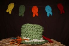 fisherman hat photo prop with five fish and removable lures by KissedbytheMoonB on Etsy