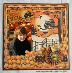 Sue's Creative Workshop:  Halloween Layout using Graphic 45's new Happy Haunting Collection.