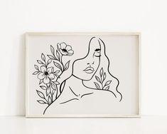 Single Line Drawing, Art File, Moon Art, Minimalist Art, Easy Drawings, Neutral Colors, Printable Wall Art, Line Art, Wall Art Prints