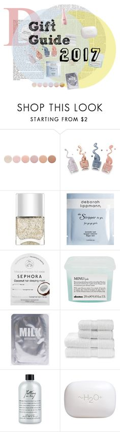 """""""gift guide 2017 // part 1 // beauty"""" by definitive-gen ❤ liked on Polyvore featuring beauty, Deborah Lippmann, Nails Inc., Sephora Collection, Davines, Christy, philosophy, H2O+, Eos and definitivegen"""