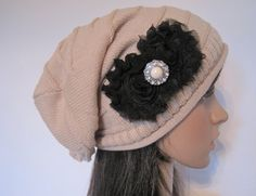 Tan Beige Knit Slouch Beanie Winter Hat With by theraggedyrose