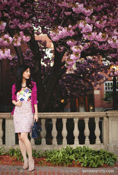 ExtraPetite.com - Spring in full bloom: Candied tweed   floral dress as a top