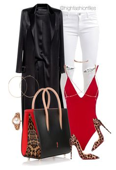 """""""Leopard"""" by highfashionfiles ❤ liked on Polyvore featuring FiveUnits, Anthony Vaccarello, Christian Louboutin, Jennifer Creel and Bulgari"""