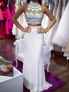 High Neck Crystal Diamond Removable Detachable Skirt Two Pieces Black Chiffon Long Prom Dress,Mid Section Red Prom Dress,Bodice Royal Blue Prom Dresses,White Evening Dress Modest Dresses, Elegant Dresses, Pretty Dresses, Formal Dresses, Formal Prom, Dresses 2016, Gowns 2017, Dresses Dresses, Royal Blue Prom Dresses