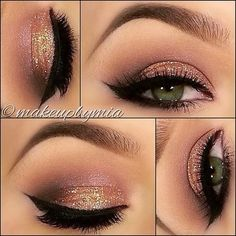 Gold glitter eyeshadow, light shimmery pink just above the gold with some black liquid winged out eyeliner...love this!