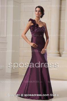 Grape Mermaid Style One Shoulder Beaded Elegant Long Evening Gown 2013