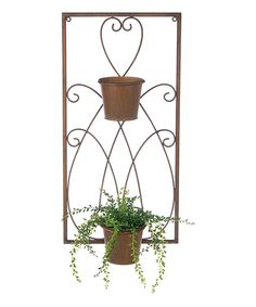 Loving this 23.5'' Scroll Two-Pot Wall Planter on #zulily! #zulilyfinds