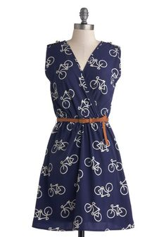 Ride Here, Right Now Dress in Blue - Novelty Print, Belted, Casual, A-line, Sleeveless, Good, V Neck, Mid-length, Woven, Blue, White, Epaule...