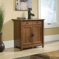 Rustic Storage Cabinets, Utility Storage Cabinet, Farmhouse Cabinets, Storage Trunk, Sauder Woodworking, Warehouse Shelving, Engineered Wood, Cabinet Doors, Adjustable Shelving