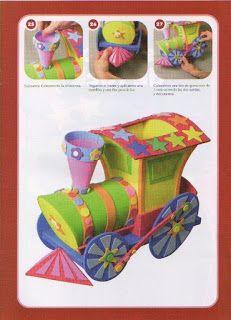 Manualidades fáciles y lindas: Tren de fomi con moldes y paso a paso