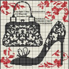 chaussure - shoes - sac - point de croix - cross stitch - Blog : http://broderiemimie44.canalblog.com/