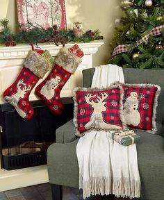 These Faux Fur-Trimmed Plaid Pillows or Stockings bring even more coziness to your cabin-themed space. Hang the Stocking from the mantel and prop the sq. Pillow on a comfy chair. Each piece features an embroidered snowman or deer silhouette on a blac Christmas Bedroom, Christmas Door, Plaid Christmas, Country Christmas, Outdoor Christmas, Christmas Stockings, Christmas Wreaths, Christmas Crafts, Merry Christmas