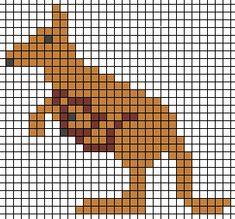 Kangaroo hama perler beads Small Cross Stitch, Cross Stitch For Kids, Cross Stitch Alphabet, Cross Stitch Designs, Cross Stitch Patterns, Crochet Skull Patterns, Beading Patterns, Cross Stitching, Cross Stitch Embroidery