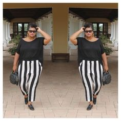 I was so happy when my Carmakoma trousers arrived with . Scored them last minute in their summer sale. I also went sale shoppi. Mode Plus, Summer Sale, Danish, Caribbean, Trousers, Stripes, Style Inspiration, How To Wear, Clothes