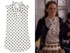 """Blair wore this beautiful bow blouse with gold glitter and velvet polka dots in episode 7 of season 6 of Gossip Girl, """"Save the Last Chance"""". Moschino Polka Dot Silk Crepe Blouse - $477 (on sale)"""