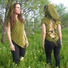 Fairy Leaf hood top! Velvet leaf top- pixie elf clothing- elven backless top