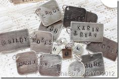 punch from aluminum cans then stamp with letters