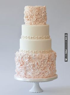 This cake inspired by a couture blush wedding gown is quite possibly prettier than the real thing | VIA #WEDDINGPINS.NET