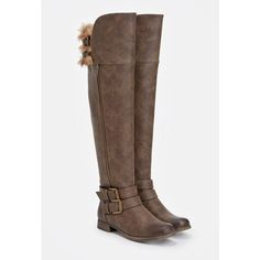 Justfab Flat Boots Tamsin ($45) ❤ liked on Polyvore featuring shoes, boots, brown, brown boots, tall brown boots, vegan boots, wide calf boots and brown buckle boots