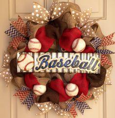 Burlap baseball wreath by OnMyFrontDoor on Etsy… Burlap Crafts, Wreath Crafts, Diy Wreath, Diy And Crafts, Wreath Ideas, Wreath Making, Holiday Wreaths, Holiday Crafts, Baseball Burlap Wreath