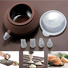Decorating Tip Sets Bakery Decorative Silicone Cake Muffin Macaroon Macaron Piping icing Baking Tool Pot 4 Nozzles Set >>> Be sure to check out this awesome product.