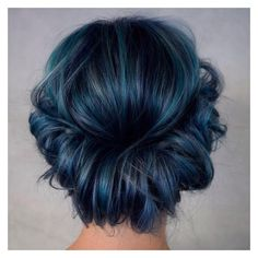 25 Eye-Catching Dark Blue Hair Color Ideas Mystery in Your Locks ❤ liked on Polyvore featuring beauty products, makeup, eye makeup and hairstyles