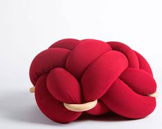 Large knot Floor Cushion in Red, Knot Floor Pillow pouf, Modern pouf, cushion, pouf ottoman, Meditation Pillow,