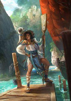 Personal work: Female paddler in water village Fantasy Warrior, Fantasy Rpg, Fantasy Artwork, Character Concept, Character Art, Concept Art, Dnd Characters, Fantasy Characters, Dungeons And Dragons