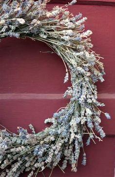 Lavender Wreath on Red Door